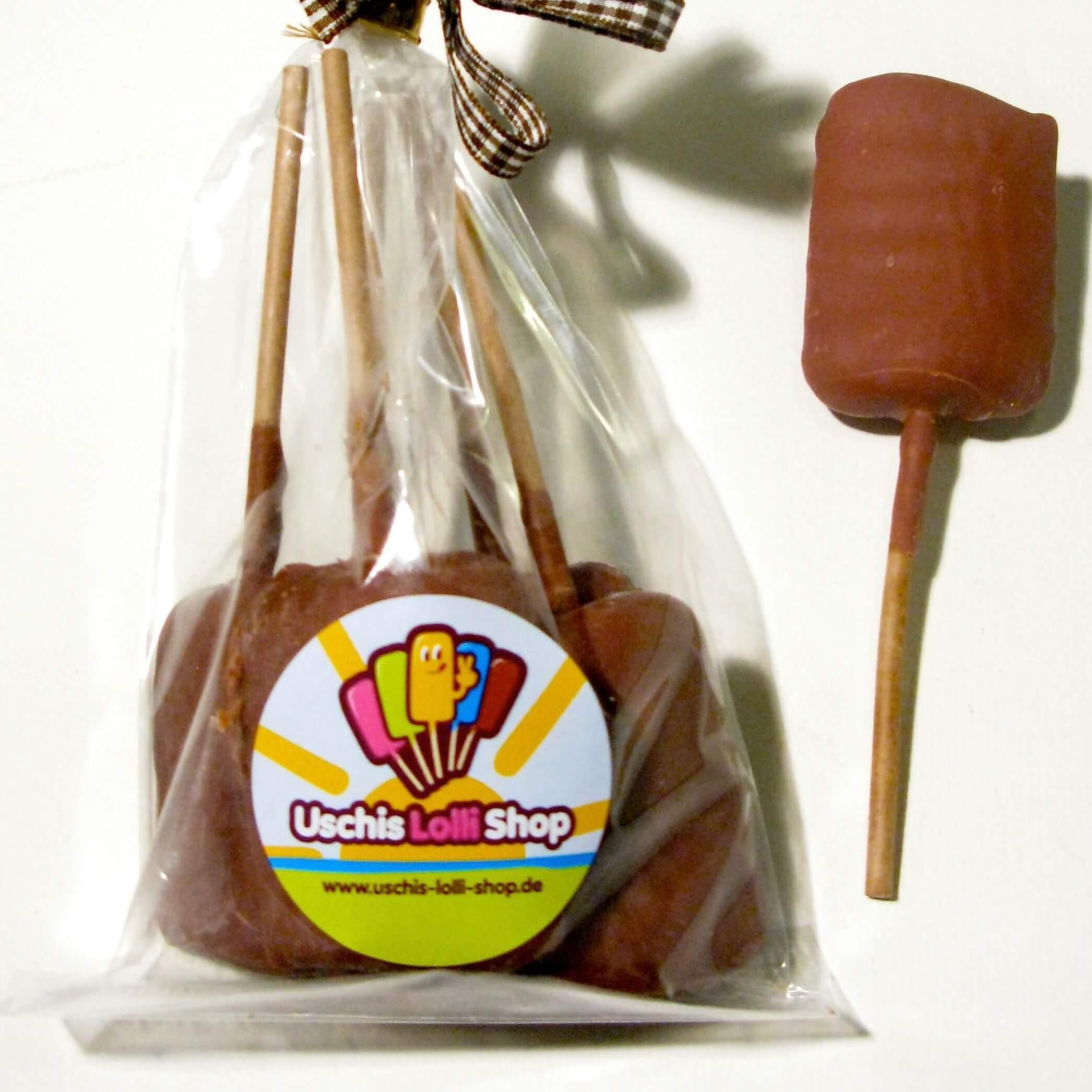 Lollis Salmiak Vollmilch Schokolade klein Uschis-Lolli-Shop